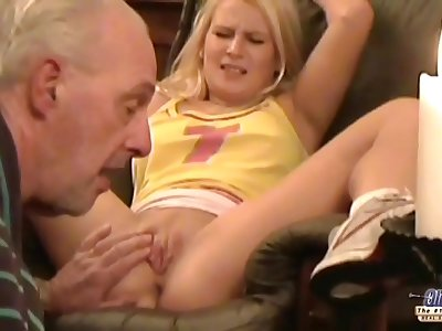 Old man forcing young blonde to sex