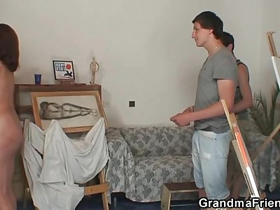 Old granny pleases two young painters