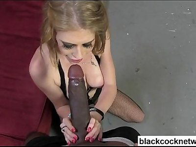 Big tit blonde in fishnets sucking bbc