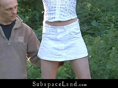 Skinny sex slave exploited outdoor by her Master