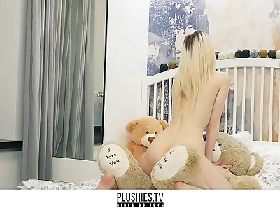 Skinny petite teen girl riding Big Black Cock on teddy bear from Plushies.TV